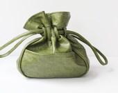 Green cinch tie top purse