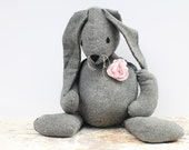 RESERVED Shabby grey stuffed bunny rabbit