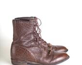 Size 10.5 D Men's Justin ropers, lace up, kiltie fringe boots