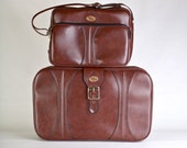 Vintage Brown Buckle Suitcase Messenger Bag Set with Keys