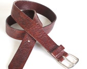 Brown leather floral tooled leather belt