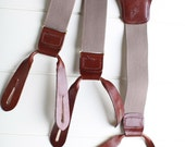 Men's vintage taupe suspenders, leather button tabs
