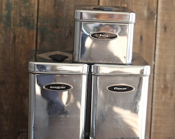 Vintage Chrome Canister Set, Set of Two