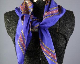 Vintage Purple paisley silk scarf