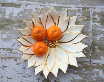 Gold and White Poinsettia Dish