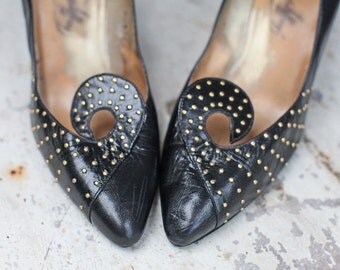 Vintage Women's Size 7 Black Leather Heels