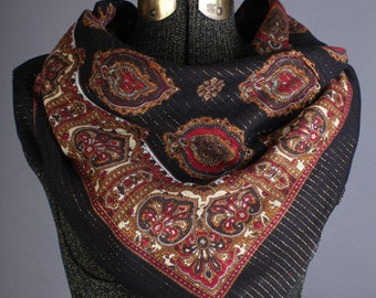 Black, gold and red paisley scarf