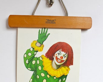 Large vintage language flash card, clown, 1980's