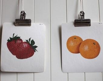 Large vintage language flash card set, orange and a strawberry,1980s