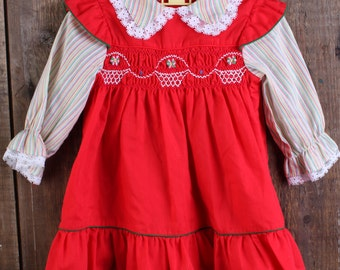 Red Polly Flinders size 12 months smocked baby dress