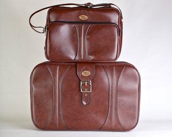 Vintage Brown Buckle Suitcase Messenger Bag Set with Keys