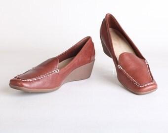 Vintage Size 9.5 Women's brown leather wedge heels
