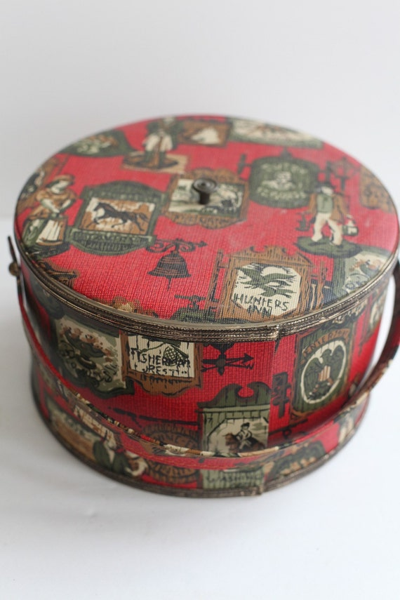RESERVED Vintage Red Colonial Sewing Box