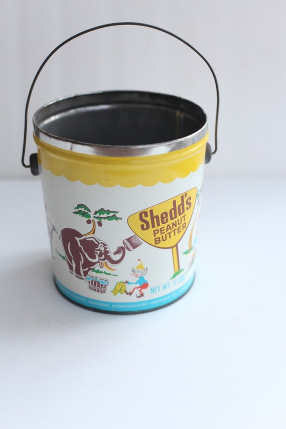 Metal Shedds peanut butter pail, desk accessory, child room decor, crayon holder