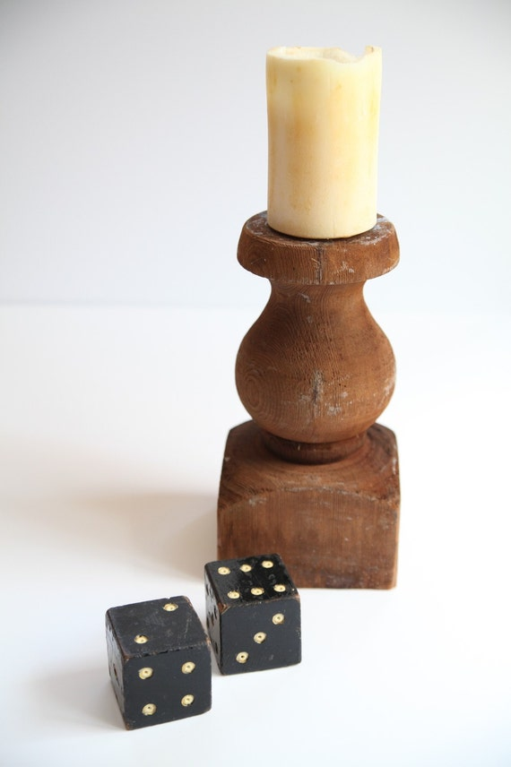 brown chunky wooden candle holder by thisvintagething on etsy
