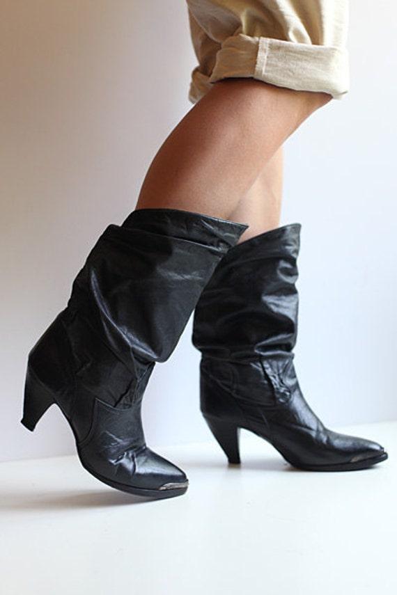 Size 7.5 Women's zodiac black leather slouch boots