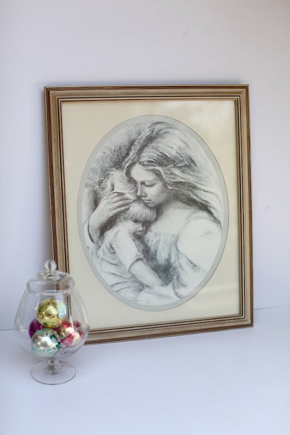 Mother and child framed drawing