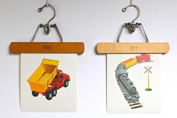 Large vintage language flash card set, truck and train,1980s