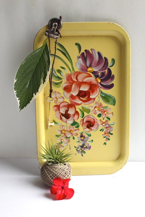 Yellow floral tin serving tray