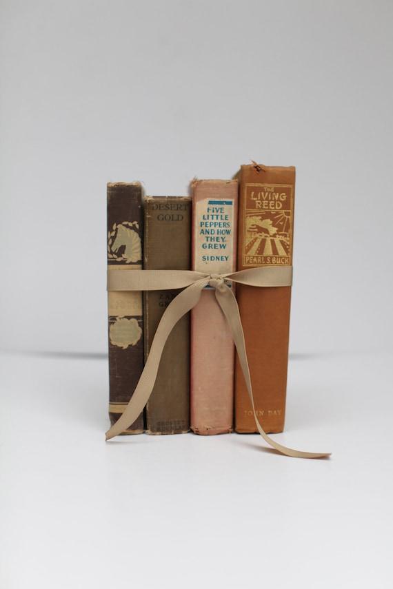 Home decor book set, browns, set of four