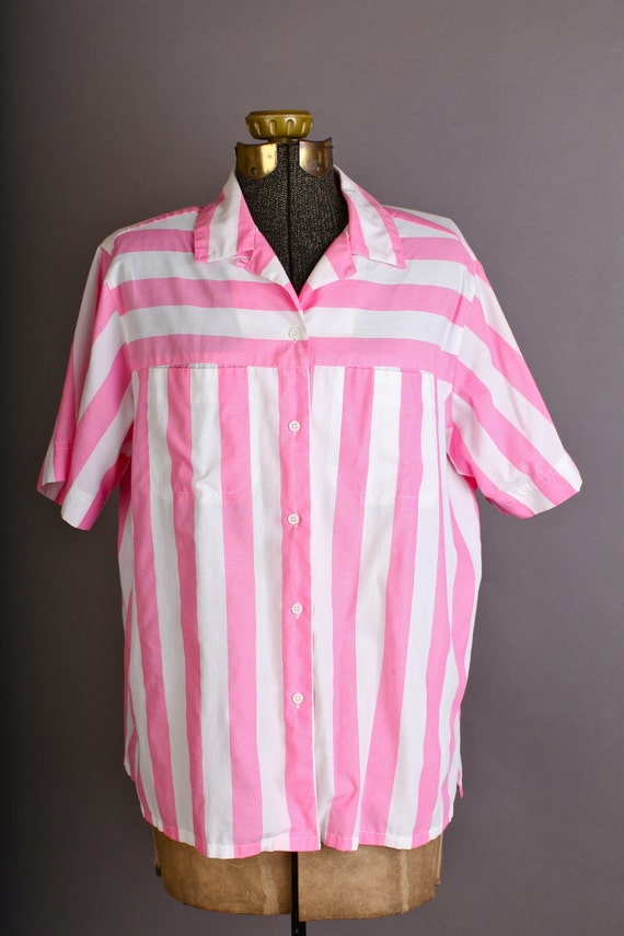 Women's pink and white button down striped blouse