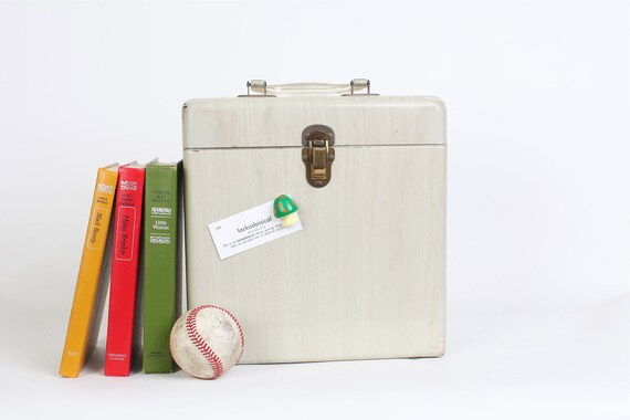 Vintage Gray Metal Wood Grain File Box