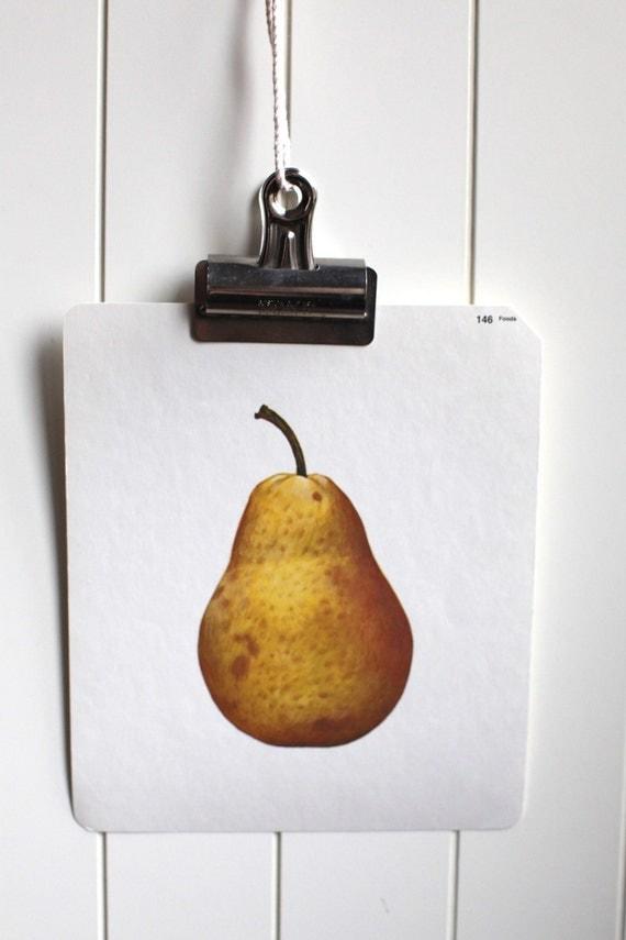 Large vintage language flash card, pear, 1980's