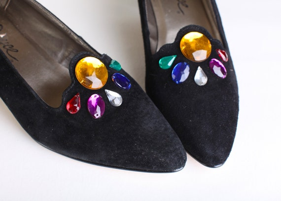 Vintage Size 8 Women's Black Velvet RhinestonePumps