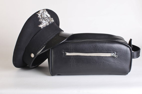 Men's Vintage Black Travel Toiletry Case, Grooming Bag
