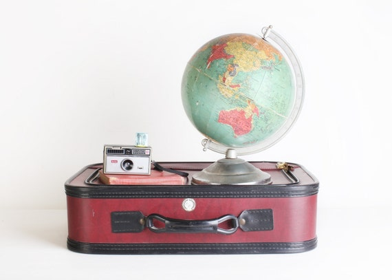 Vintage Small Oxblood Suitcase