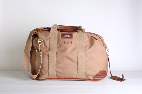 Extra large initialed canvas duffle bag, Lands end travel bag, brown carry on