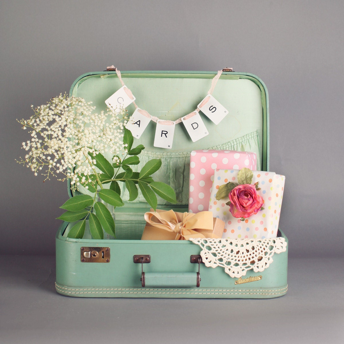 sage green suitcase wedding card box photography prop. Black Bedroom Furniture Sets. Home Design Ideas