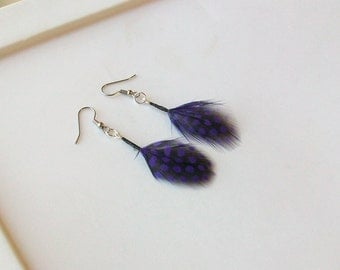 Purple Polka Dot Guinea Fly Fishing Feather Earrings - 2 Inches Long