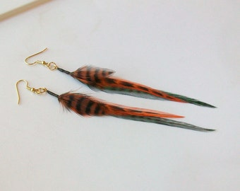 Frog Green, Orange, Brown and Black Tiger Stripe Fly Fishing Feather Earrings - 5 Inches Long