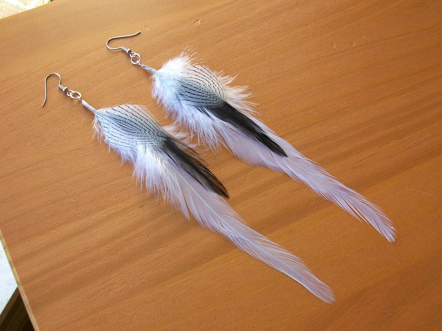 White and black fly fishing feather earrings 6 by for Fly fishing feathers