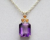 "Pendant - Genuine Amethyst - w/ Citrine Accents - set in Solid Sterling Silver - w/ 18"" Sterling Silver Cable Chain -  ""Pretty in Purple"""
