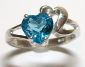 """Ring Genuine Swiss Blue Topaz Double Heart Ring set in Solid Sterling Silver s7          """"Ace of Hearts"""""""