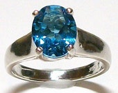 """Swiss Blue Topaz Comfort Shank Ring s7     """"Martha's 2nd favorite"""" Spring Snap it up Sale Reduced 20.00"""