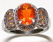 "Ring Genuine Fire Opal accented with Genuine Yellow Sapphires set in solid sterling silver s8  ""Fire Desire"""