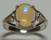 "Ring Genuine Ethiopian Opal set in Solid Sterling Silver s7 gifts for her   ""Fire Starter"""