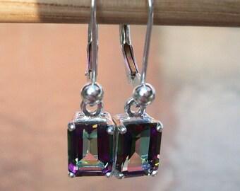 "Custom order only - Earrings - Rainbow Mystic Topaz -  lever back - dangle earrings -  in solid sterling silver -     ""Mystic Rain"""