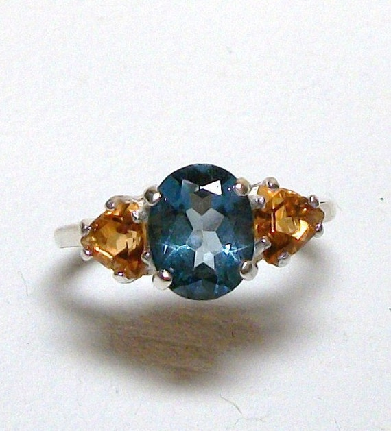 "Ring Genuine Caribbean Blue Mystic Topaz w/ Citrine Accents set in Solid Sterling Silver s7        ""Blue Tropics"""
