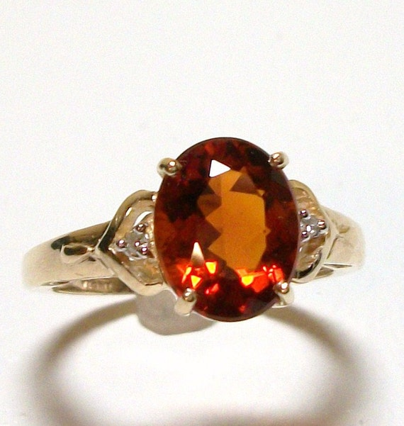 """Ring Genuine Madeira Citrine w/ Diamond Accents set in 10k Yellow Gold s7    """"Ring of Fire"""""""