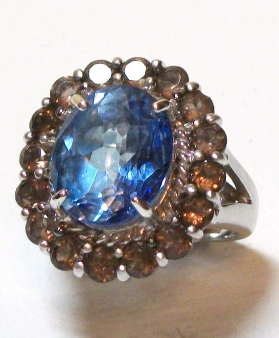 """Azotic Blue Topaz Cocktail Ring with Smokey Quartz Accents set in solid sterling silver s6   """" Bonita Vista Blue"""""""