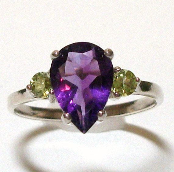 "Ring - Genuine Amethyst -  w/ peridot - accents - in solid sterling silver - s7 -   ""Moody Tuesday"""