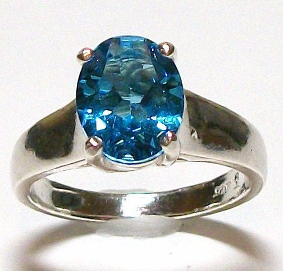 "Swiss Blue Topaz Comfort Shank Ring s7     ""Martha's 2nd favorite"" Spring Snap it up Sale Reduced 20.00"