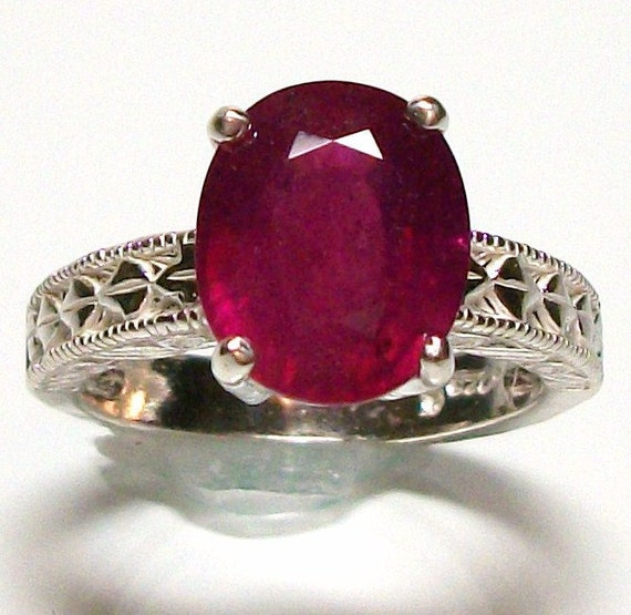 """Ruby ring genuine ruby set in sterling silver custom hand set s7 gifts for her   """"Eternally Yours"""""""