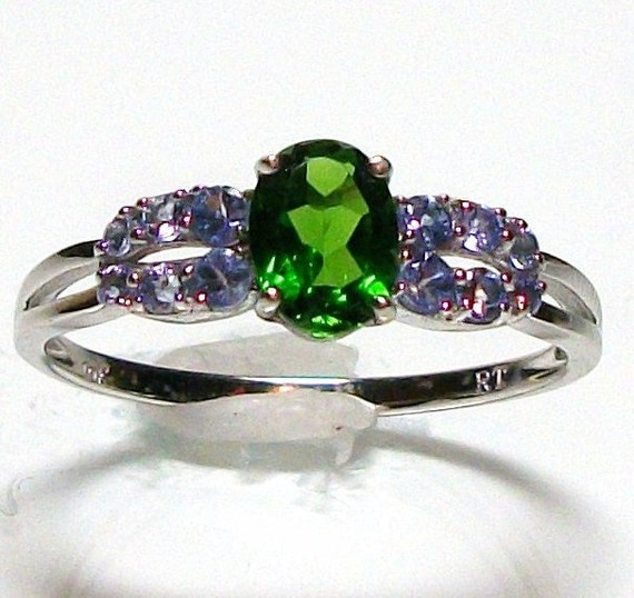 "Chrome Diopside accented with Tanzanite custom hand set genuine gemstones in 10k white gold s9 gifts for her ""Irish Eyes"""