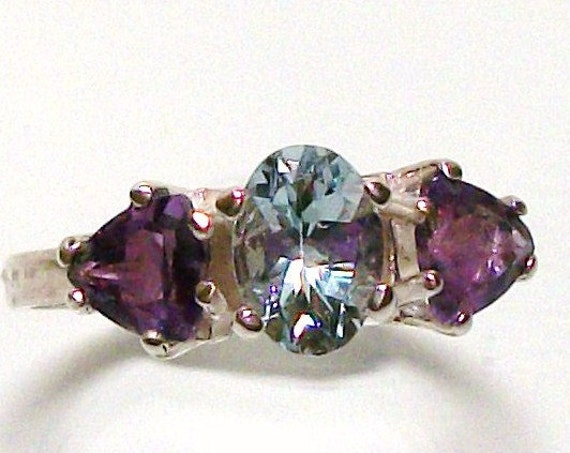 "Aquamarine and Amethyst accent ring set in sterling silver s7 gifts for her     ""My Girl"""