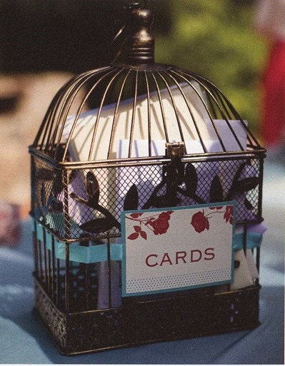 Small antique vintage bird cage wedding decor for Petite cage a oiseaux decorative